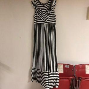 New Black & White Striped Maxi Dress